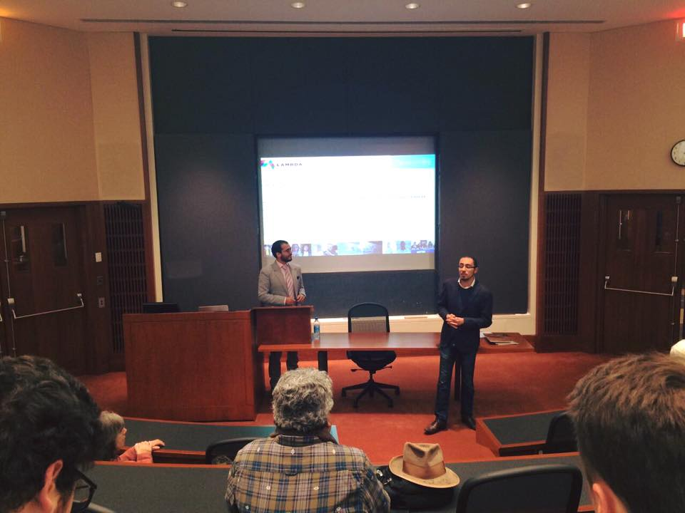 Giving a conference at Harvard Law School next to Xavier Careafranco