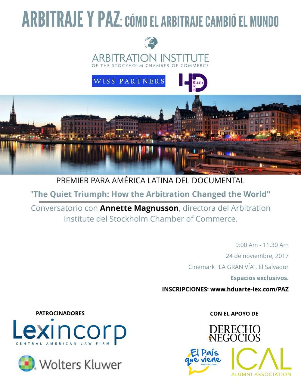 Arbitration for peace - Hduarte Lex - Manuela de la Helguera- Herman Duarte- Wiss Partners - Stockholm Chamber of Commerce