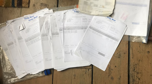 The cache of payment slips worth £150,000