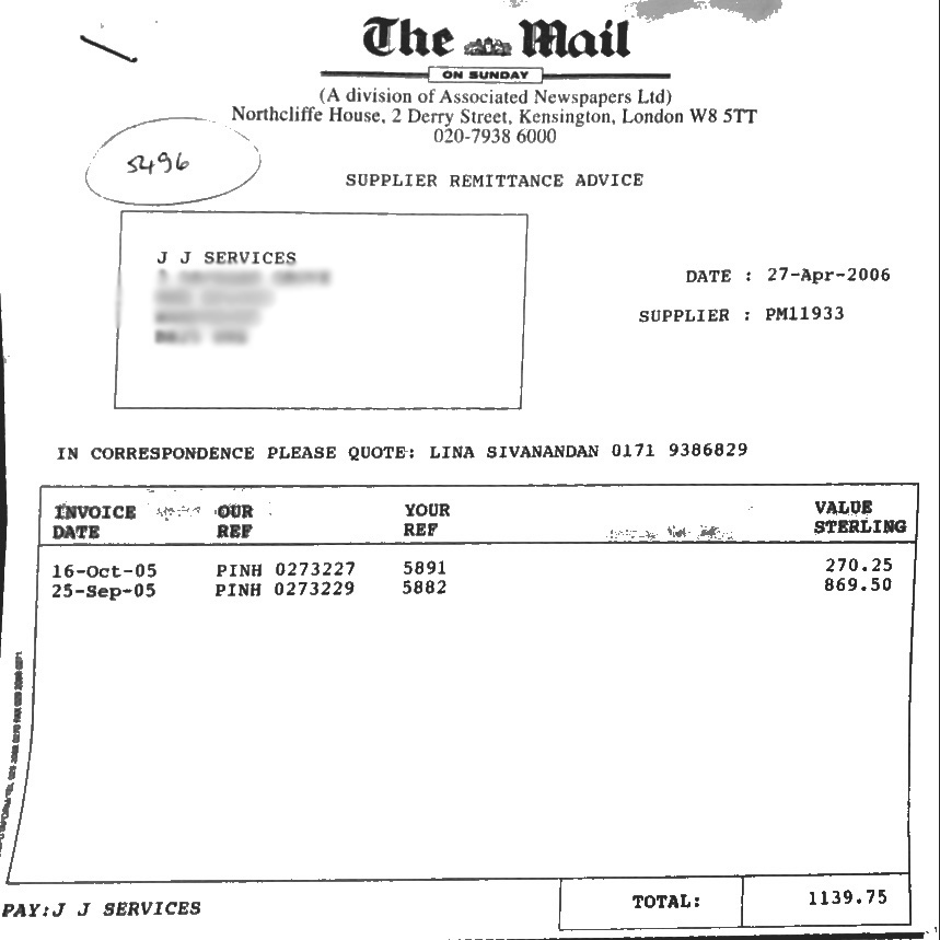 One of the two receipts from the Mail on Sunday which editor Peter Wright could not explain at the Leveson Inquiry. He now works on IPSO's Complaints Committee.