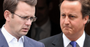Political: Andy Coulson and former boss David Cameron. Credit: The Mirror