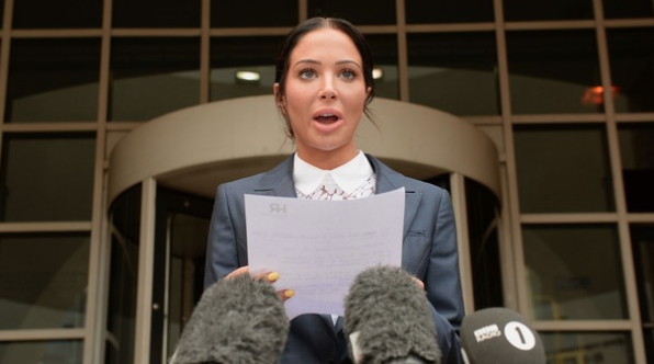 Tulisa Contostavlos outside Southwark Crown Court. Credit: ITV.