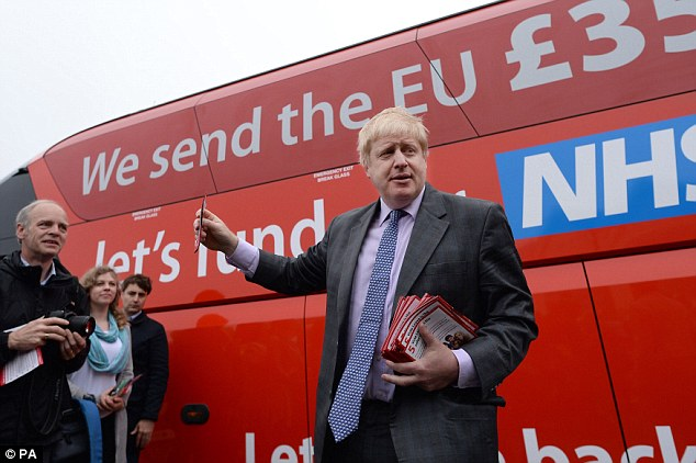 Johnson in front of the infamous Brexit Battlebus during the 2016 EU referendum