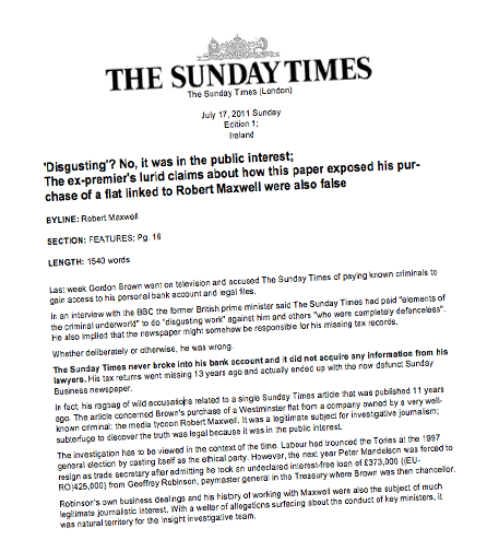 Rebuttal rebutted: Sunday Times hits out at Brown - now blagger contradicts paper