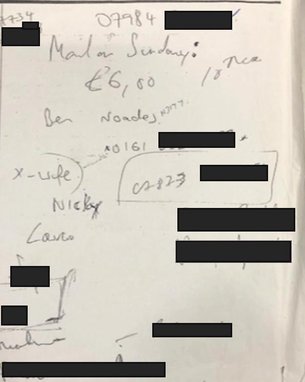 Evidence: Glenn Mulcaire's hand-written Mail on Sunday work note