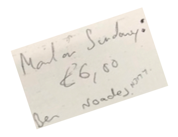 Hand-written: Glenn Muclaire's note