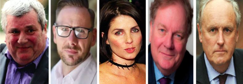 l-r: Whistleblowers Greg Miskiw and Glenn Mulcaire, Sadie Frost, Peter Wright, Paul Dacre (c) PA/ IPSO