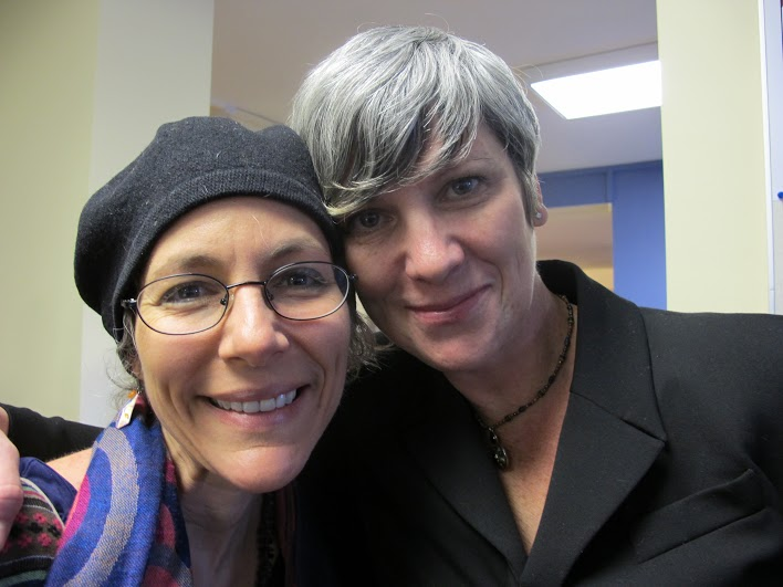 Emma Goldman-Sherman (left) with Jessica Hall (right), the Executive Director of Prison Writes