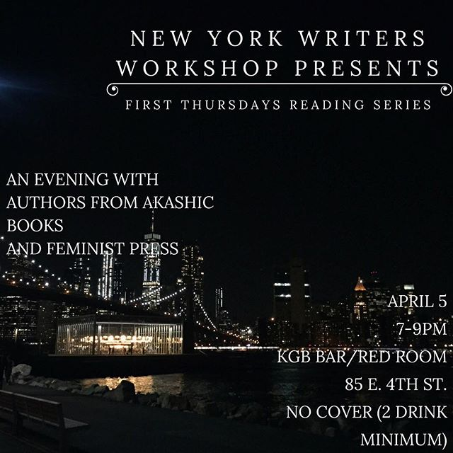 Come by the Red Room April 5th to hear work from Adam Smyer and Lauren Stahl from Akashic Books, and YZ Chin and T Kira Madden from Feminist Press! As always, there's no cover (2 drink minimum!) and two hours of incredible work from talented writers. See you soon! #newyorkwriters #newyorkwritersworkshop