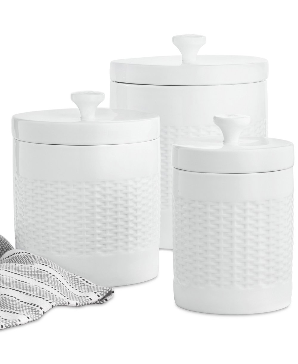 Martha Stewart - Updated Set of 3 Classic Basketweave Canisters