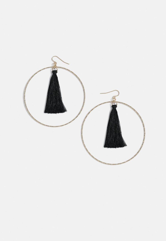 Missguided Black Tassel Gold Hoops- $12