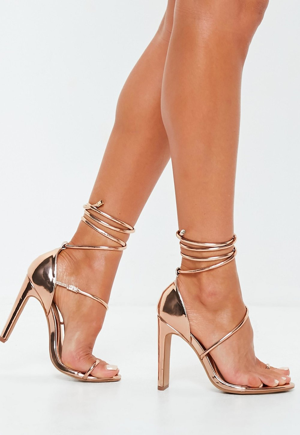 Missguided Rose Gold Strappy Heels- $33