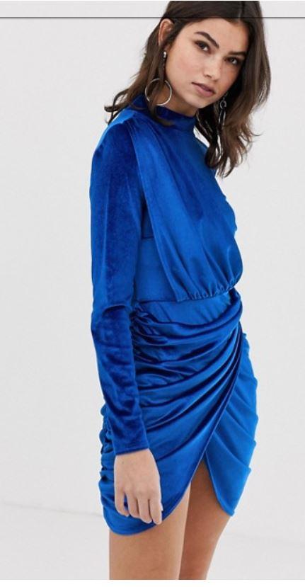 Boohoo Velvet Rouched Wrap Dress- $35