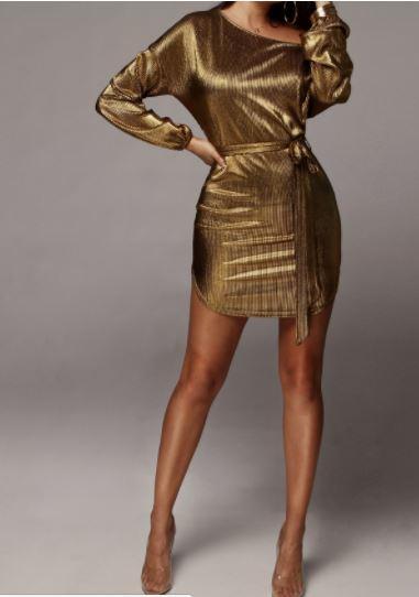 JLUX Label Gold Mini Dress