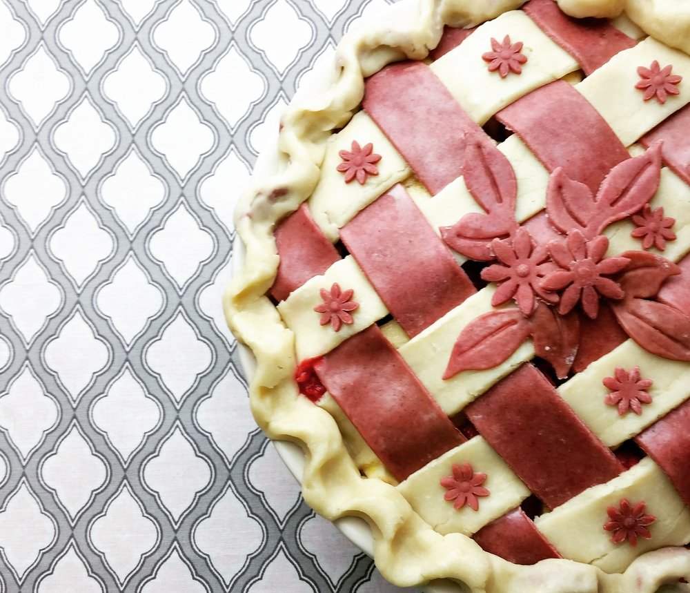 Apple Raspberry Pie with beetroot crust