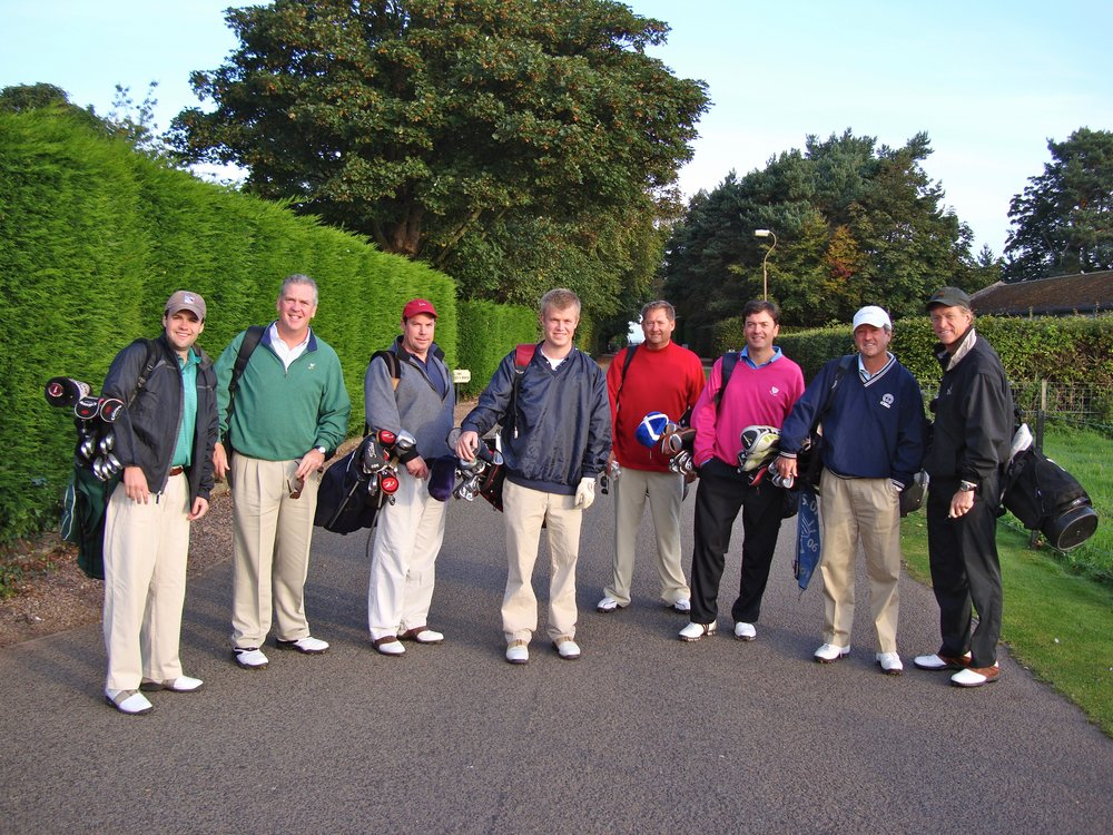 The walk down the drive to Muirfield's hallowed turf...with a few friends in 2009. The course kicked our butts, but we would play again at the drop of a hat if we could.