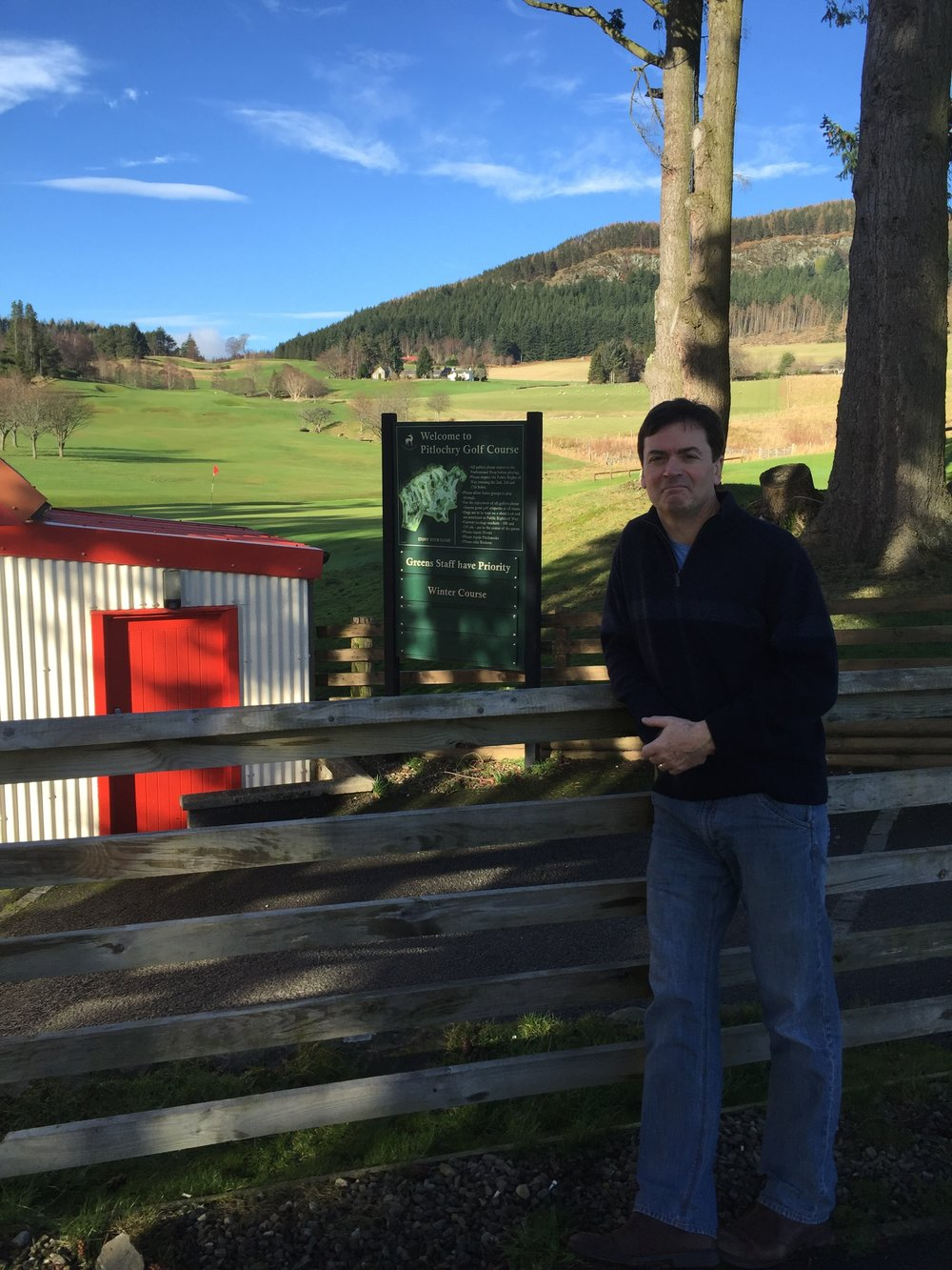 Me at Pitlochry with a view of the first hole