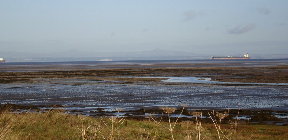 the tide goes out for miles on the forth, revealing that the channel itself is narrow.