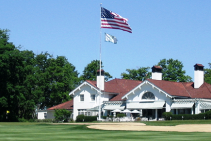 The Club house from the 18th Fairway.