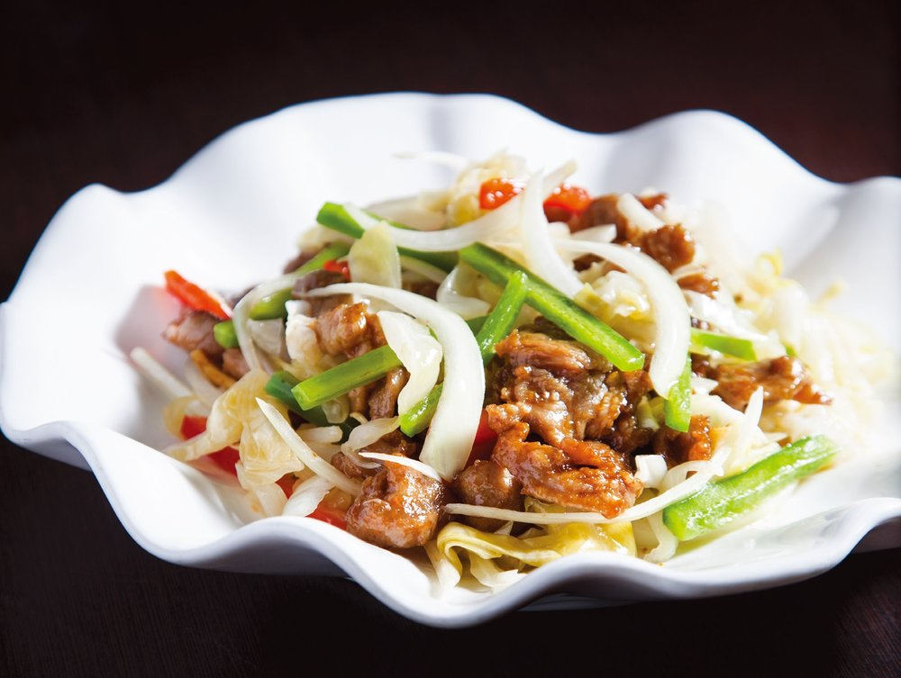 Stir fried mutton with pickled veggies