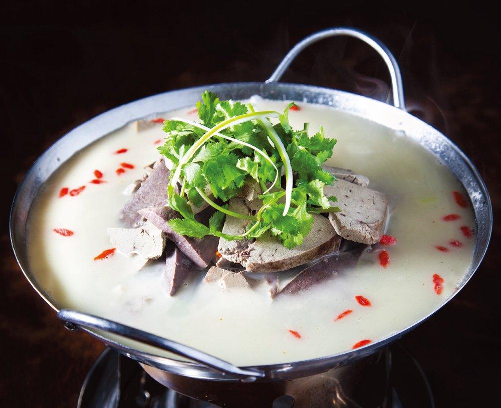 Lamb haggis soup on hot pot