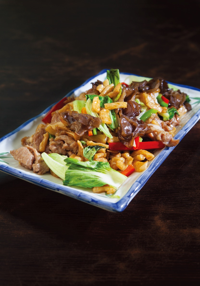 Stir fried patched hand made noodles with beef or lamb