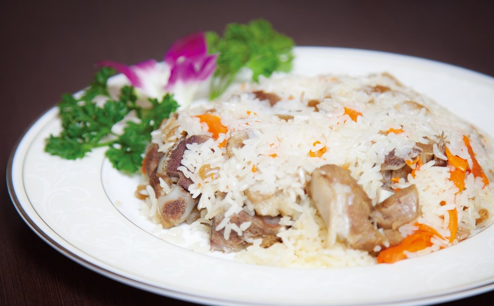 Uyghur style rice with lamb, carrots and raisins