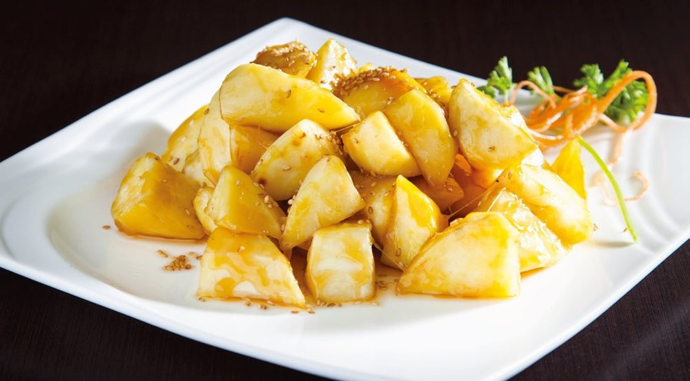 Stir fried sweet potato with sugar