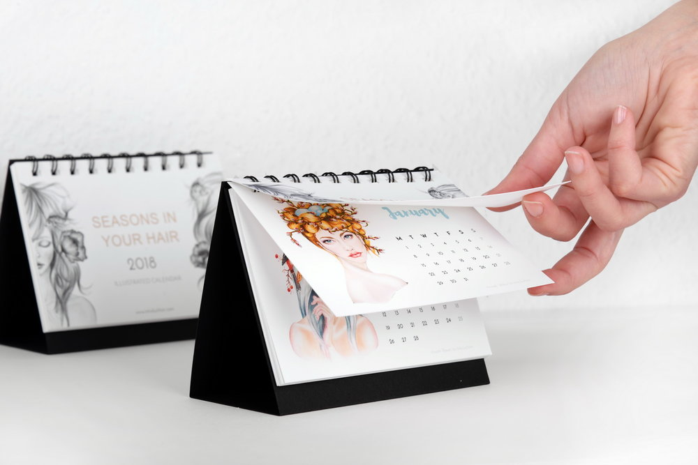 Illustrated 2018 desk calendar presentation2 by Irina Luchian