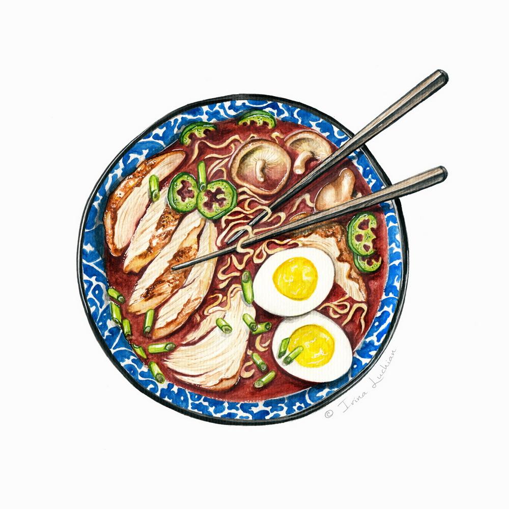 Chicken ramen soup bowl