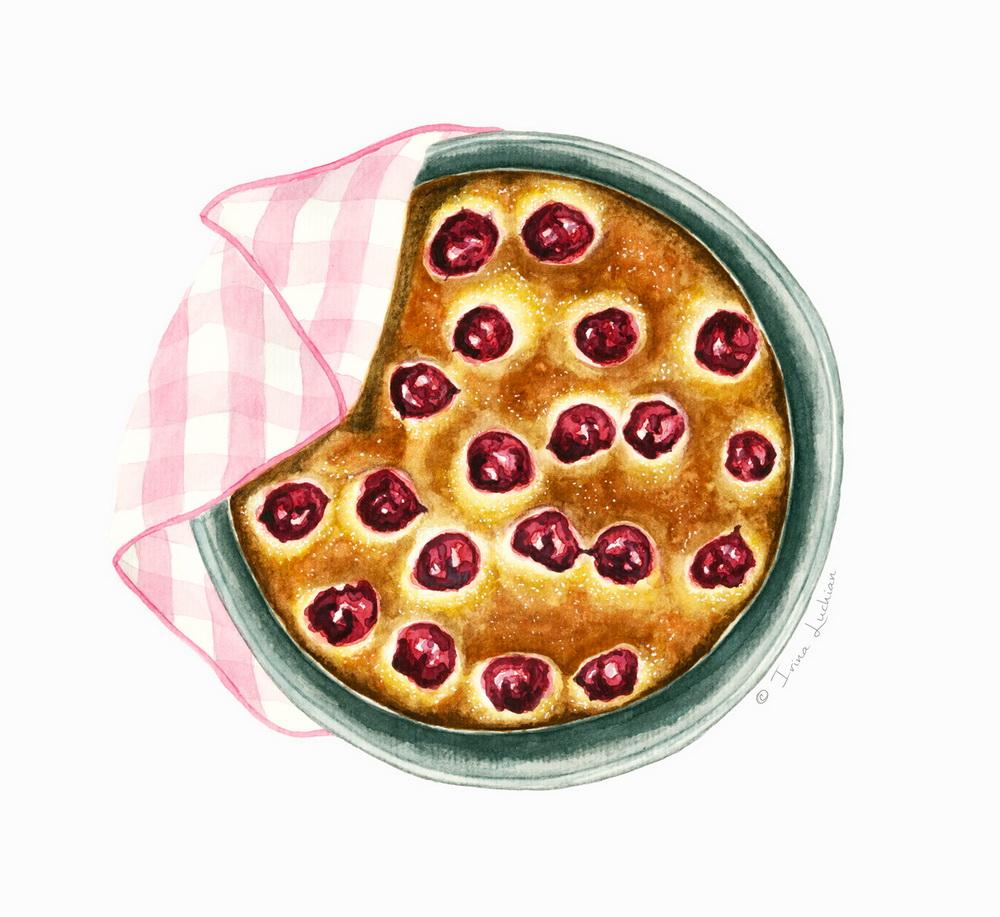 Sour cherry cake in a tart pan
