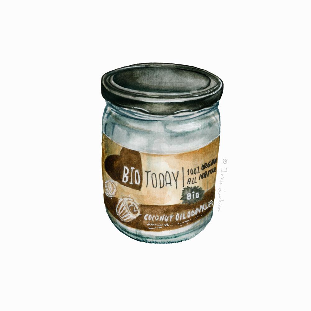 Coconut Oil jar illustration