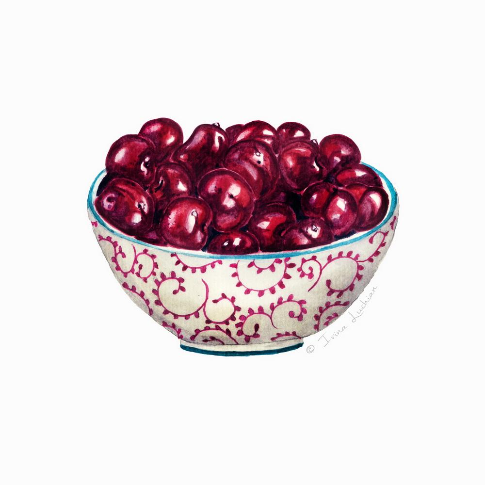 Sour cerry bowl illustration