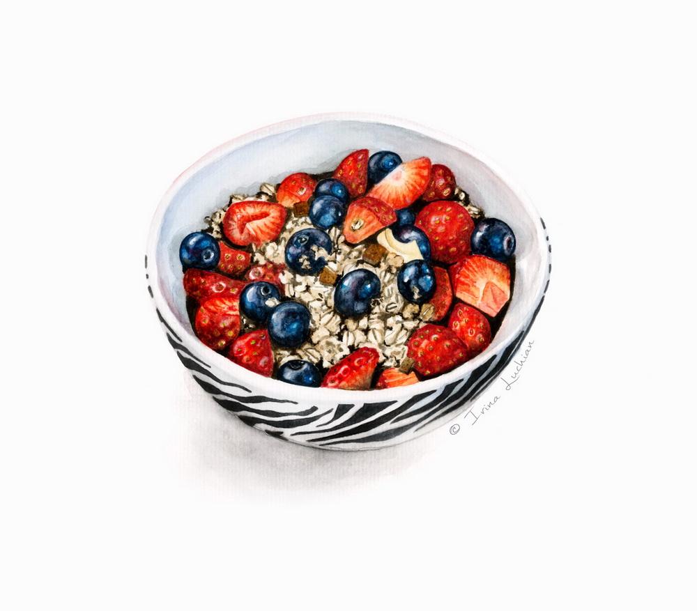 Breakfast bowl illustration (musli, chocolate & berries)