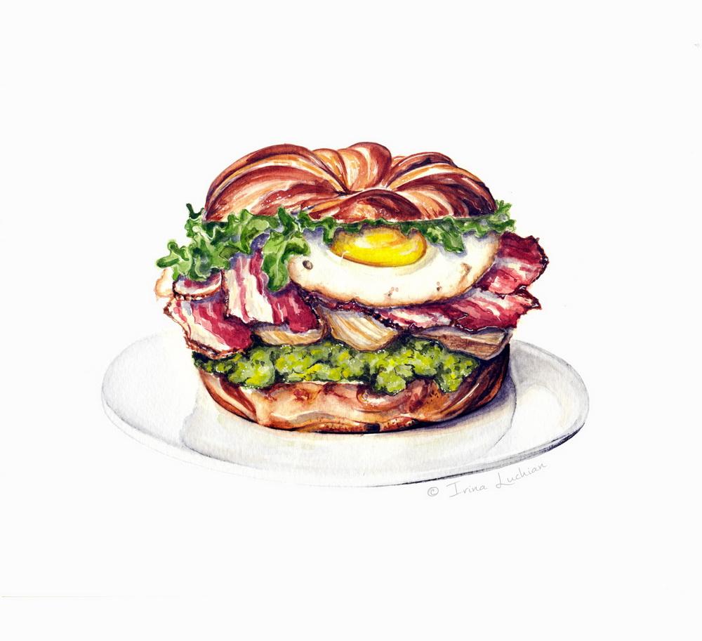 Bagle sandwich illustration with eggs, bacon and avocado spread