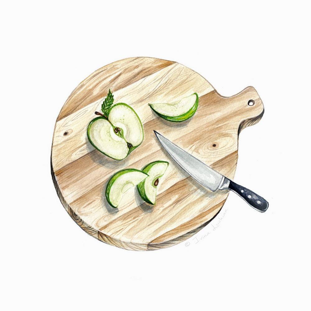 Green apple sliced on a wooden chopping board illustration