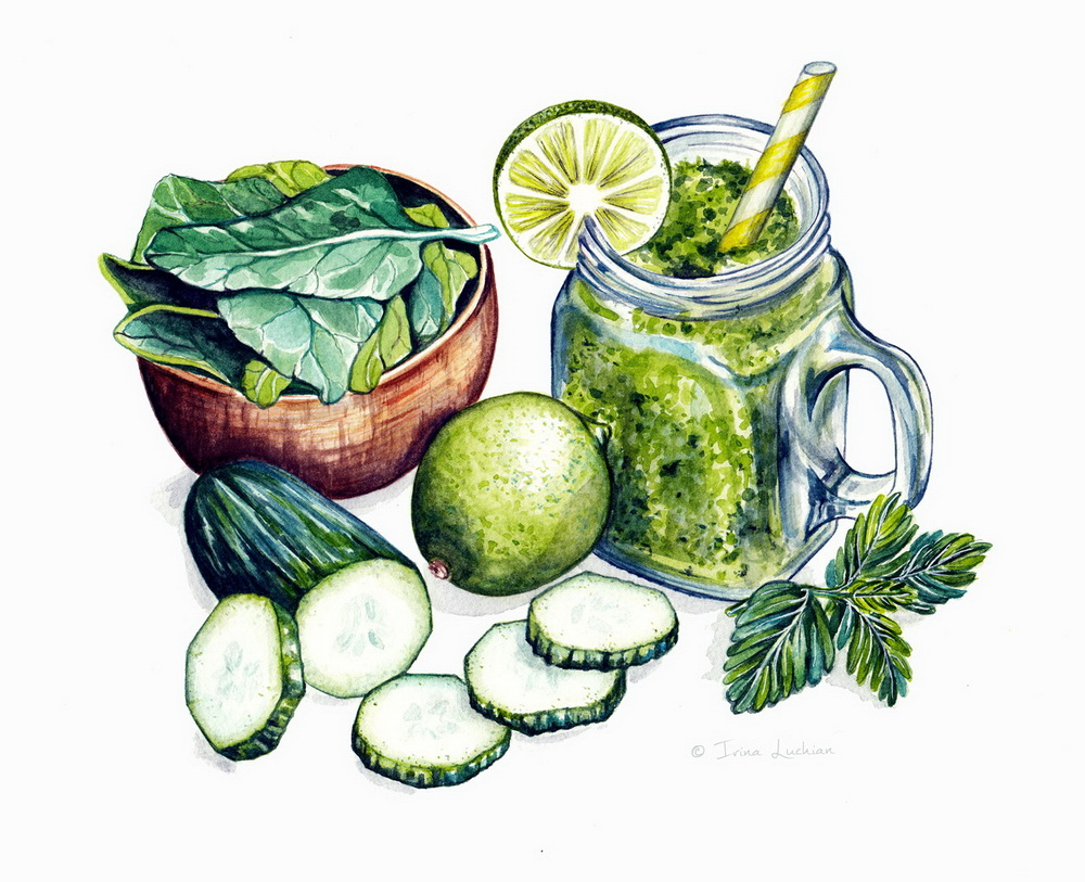 Illustrated smoothie ingredients; illustrated watercolor green ingredients by Irina Luchian