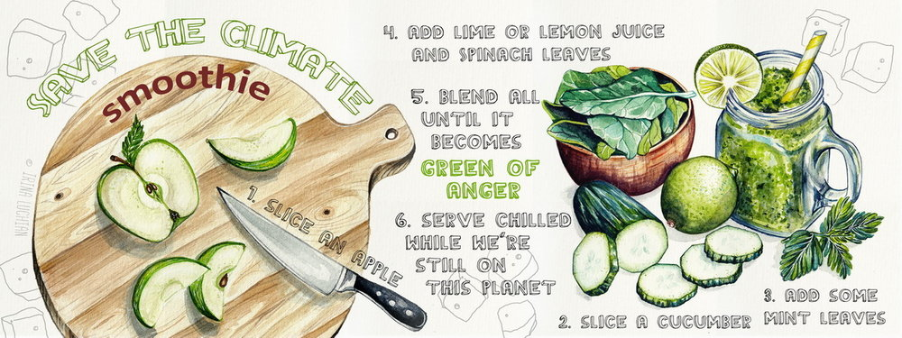 Green smoothie illustrated recipe for They Draw and Cook by Irina Luchian