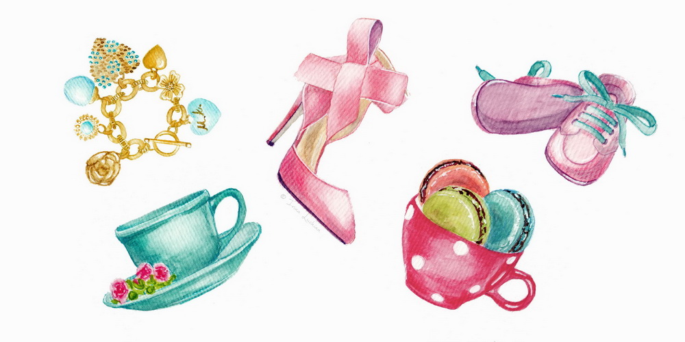 Illustrated objects (tea cup, golden bracelet, high heel pink shoes, baby girl shoes, a red polka dots cup full of macaroons)  by Irina Luchian
