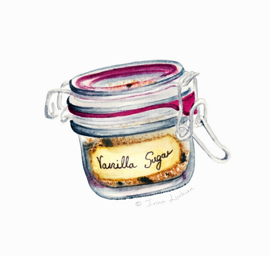Vanilla sugar hermetic glass jar illustration