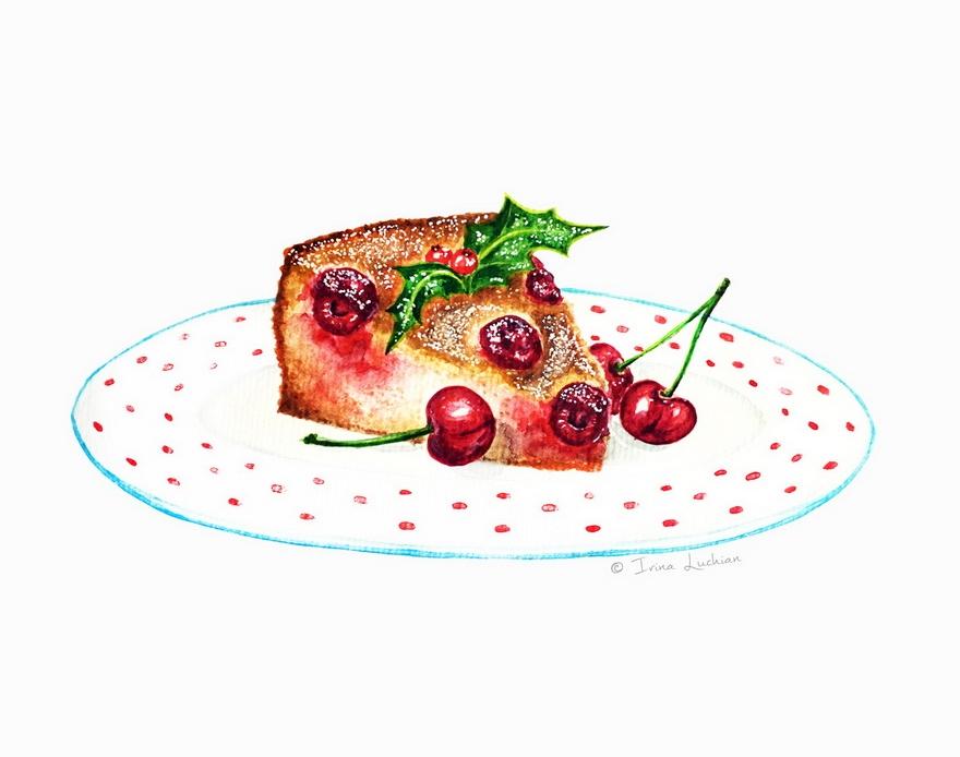 Cherry cake piece on a plate