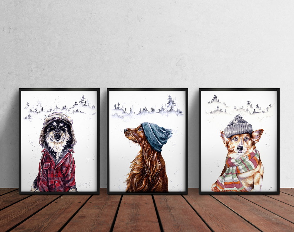 3 black frames on Wooden Floor_dogsinhats_irina_luchian.jpg