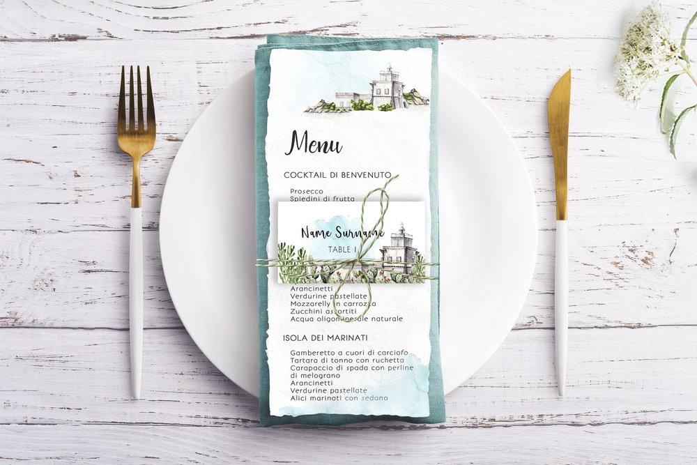Sicilian wedding  - menu & table card