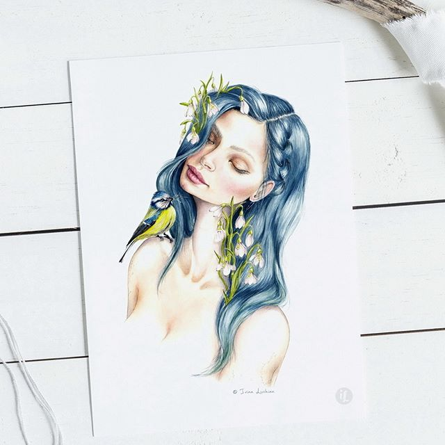 Winter blues, Spring fatigue, birds chirrupingand Snowdrops. Sounds like March, right? You can find prints of this sleeping beauty in my Etsy shop (link in my BIO).