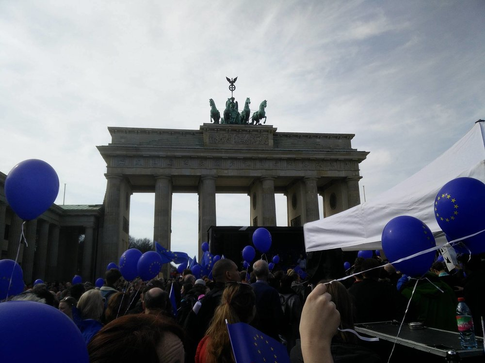 According to organizers, as many as six thousand demonstrators had marched to the Brandenburg Gate.