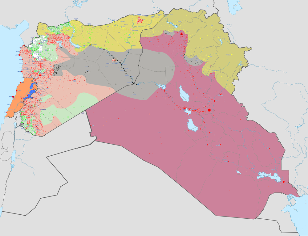 Map of the military conflicts in Lebanon, Syria, and Iraq.  Source Available Here . Towns & cities are shown as dots. The two shades of Yellow represent Syrian & Iraqi Kurdish forces, the two shades of red represent Syrian and Iraqi government forces, Green are Syrian rebels. Orange and blue are Lebanese government and Hezbollah forces respectively, and white is Tahrir al-Sham, an al-Qaeda affiliate.