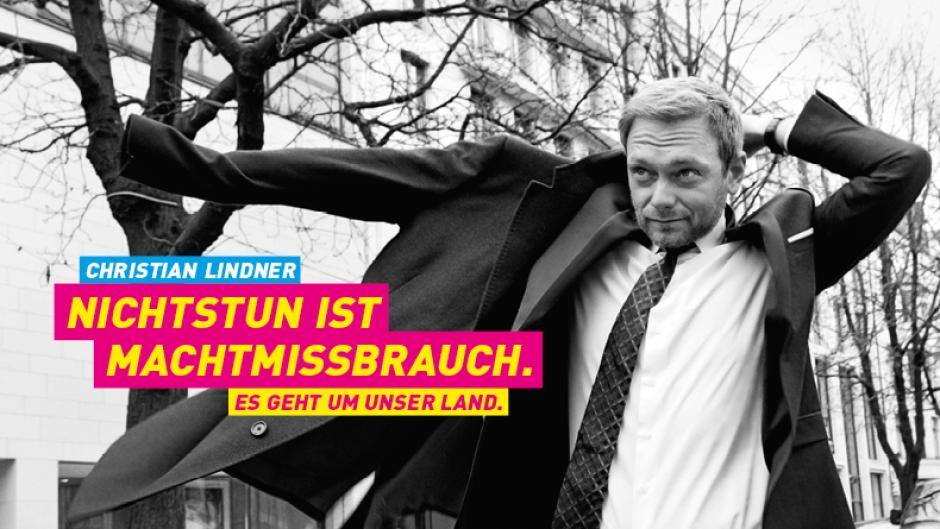 Ein Wahlkampfplakat der FDP, dass heutzutage leicht Ironisch wirkt.