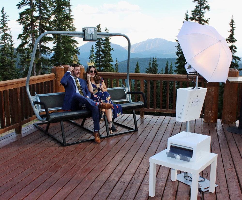 keystone wedding with natural mountain backdrop and ski lift chair