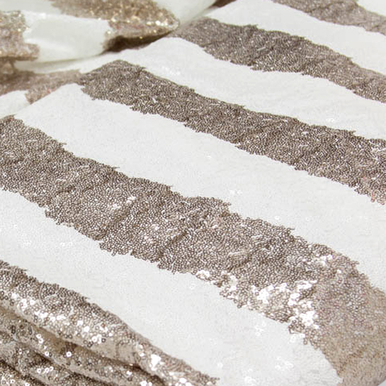NEW! Sparkly Champagne and White Stripes