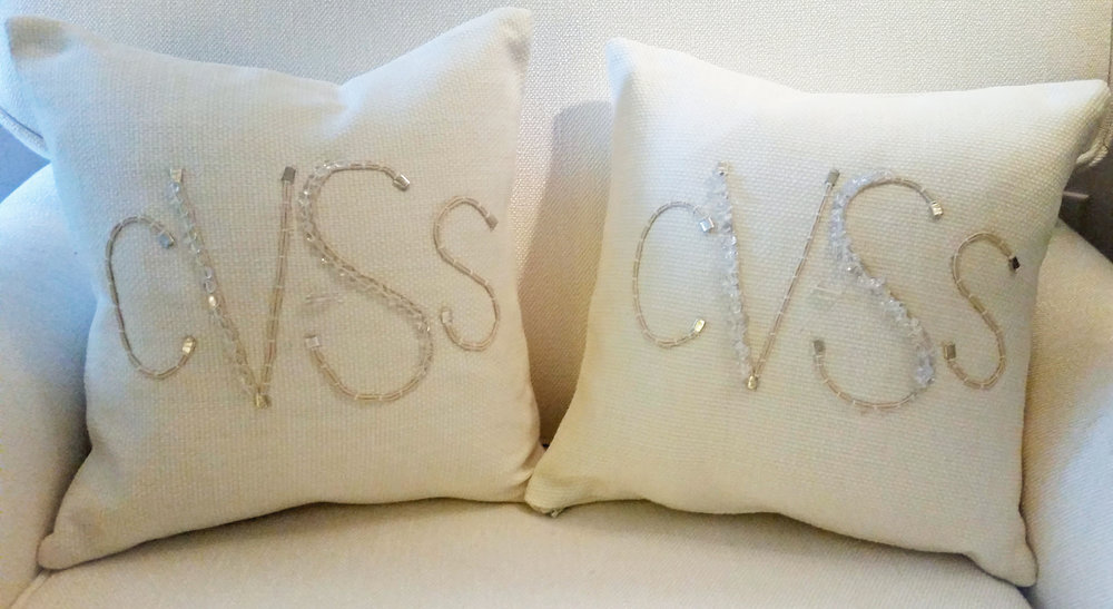 His and hers monogrammed pillows make for great wedding presents.